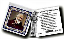 St. Padre Pio Metal  Pocket Statue w/ Prayer Card Patron of Stress Relief