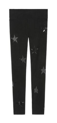 NWOT VICTORIA/'S SECRET PINK M L BLACK GLOSSY STAR PRINT COTTON YOGA LEGGINGS
