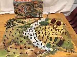 Marx-Guerilla-Warfare-Miniature-Playset-With-Mat-amp-Box-Viet-Cong-US-Combat-Troop