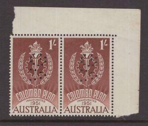 Australia-VG-perfin-on-1-Colombo-1951-plan-MNH-pair