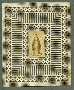 France Religion Holy Card Virgin Mary Photo Albumen on Lace Paper 1870's NDsVr7Br-09084600-840890656