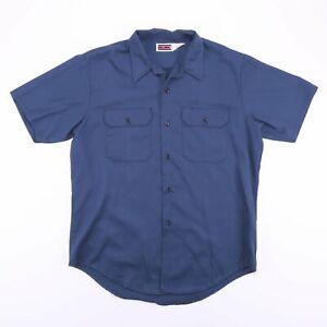 Vintage-BIG-MAC-Made-In-USA-Blue-Short-Sleeve-Worker-Shirt-Men-039-s-Size-Large