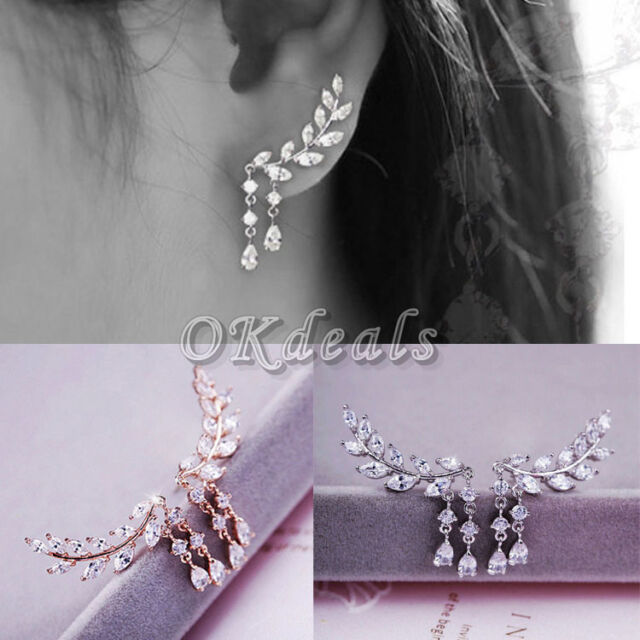 NEW Korean Style Gold Silver Plated Crystal Tassel Leaves Cubic Zircon Earrings