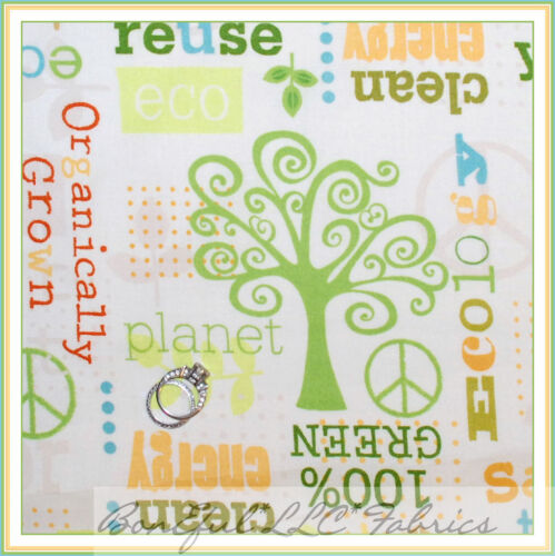 BonEful Fabric FQ Cotton Quilt Organic L Tree Green Earth Recycle Girl Boy Scout