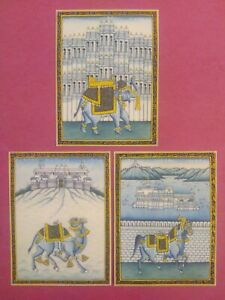 Hand-Painted-Miniature-India-Rajasthan-Three-City-Fine-Painting-Udaipur-Jaipur