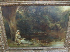 Laslett John POTT Original Oil Painting SIgned 1876 woman reading by pond tree