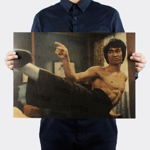 Bruce Lee Wall Poster Wallpaper Kung Fu Movies Kraft Paper Gym House Decal Gift