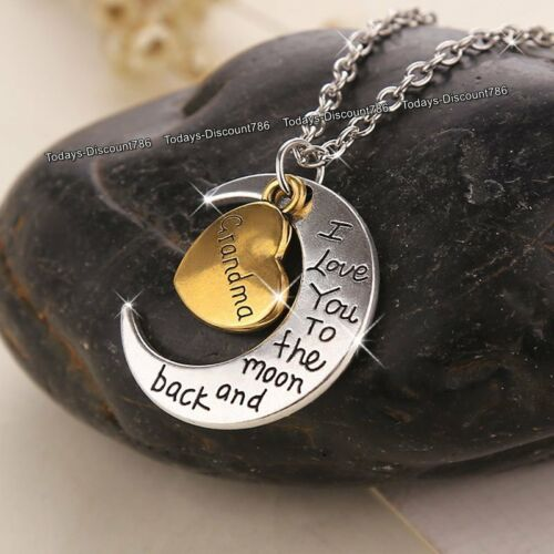 SALE I Love You Grandma Heart /& Moon Necklaces Silver Xmas Gifts For Her Mother