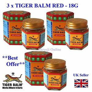3 TIGER BALM RED Relief from Headaches, Muscular, Joint Aches & Body Pain -21ml