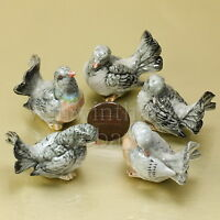 5 GRAY DOVE PIGEONS BIRD FLOW CERAMIC POTTERY STATUE ANIMAL MINIATURE FIGURINE
