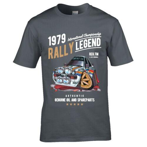 Koolart Rally Legend Motif with 1979 Mk2 Escort Mexico Car mens t-shirt top gift