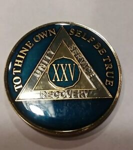 4 Year AA Sobriety Chip Recovery Challenge Coin 1 3//4 Inch Blue Enamel IV