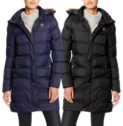 Womens Quilted Padded Jacket Puffer Faux Fur Lined Hood Zip Thick Parka Coat