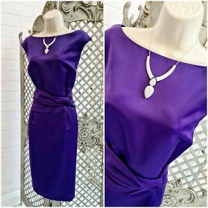 Marks & Spencer Portfolio 💋 Cadbury Purple Satin Wiggle Cocktail Dress Size 16