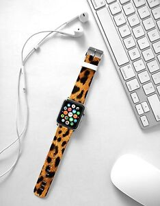Yellow Leopard Print on Leather Strap Band for Apple Watch
