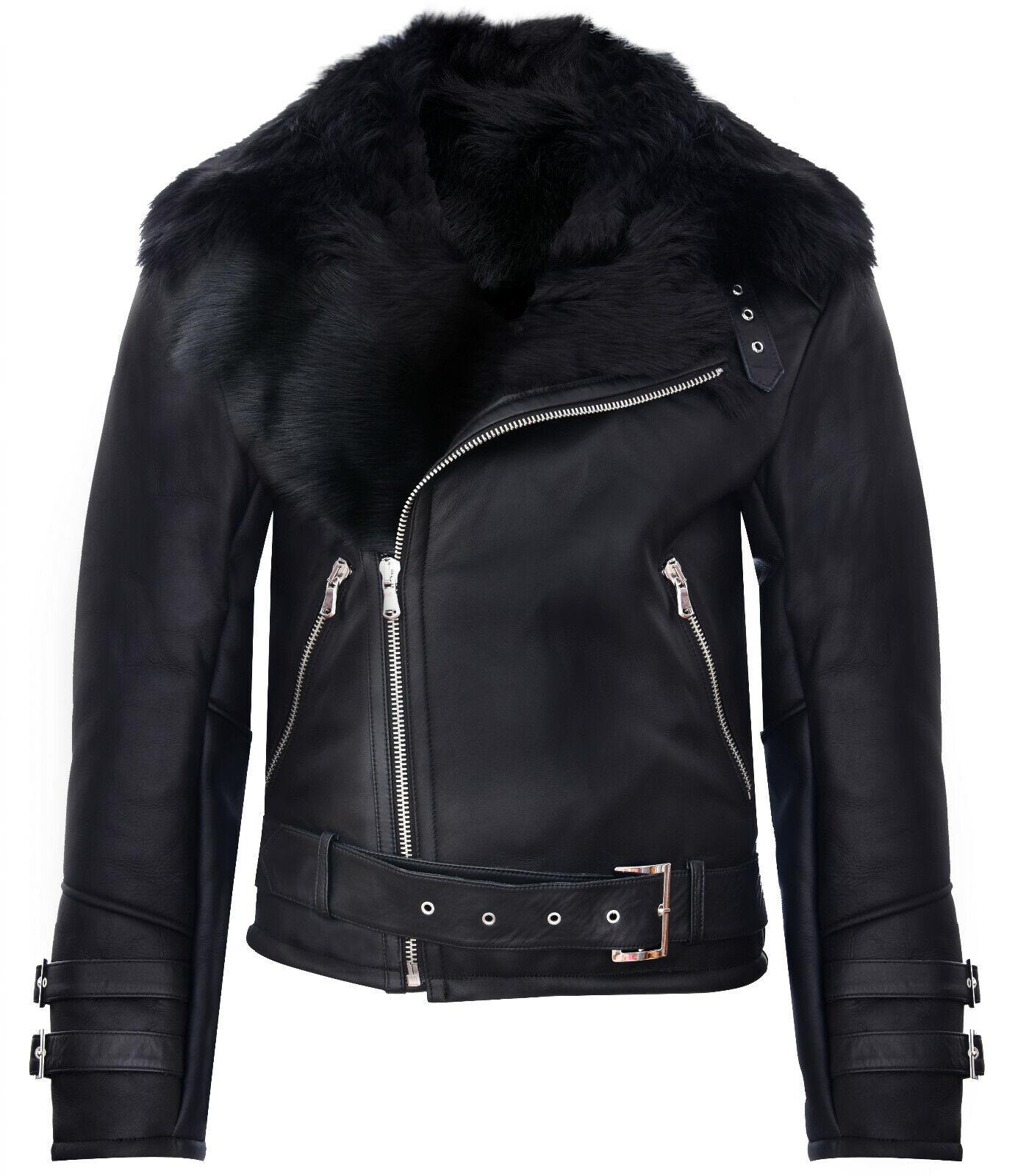 Men's schwarz Crosszip Crosszip Crosszip Toscana Shearling Leder Biker Jacket e9f