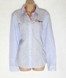 Damen-Tracker-Langarm-Himmelblau-Gingham-Baumwollmischung-Shirt-Bluse-Gr-XL