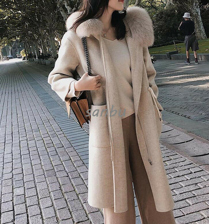 Women's Long Hooded Big Fur Collar Cashmere Winter Warm 100% Wool Koren Outwear
