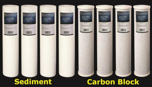 "BLUONICS Big Blue CTO Carbon Block /& Sediment 8pcs 20""x 4.5/"" Replacement Filters"