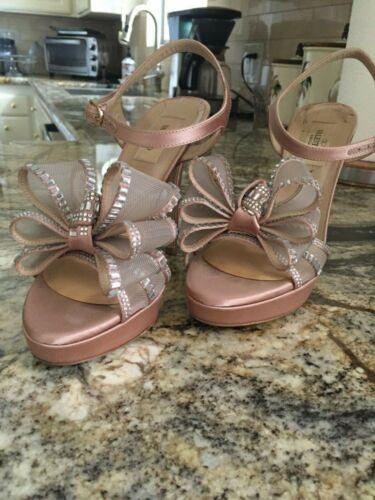 Valentino Crystal Bow Peep Toe Heels Platforms siz