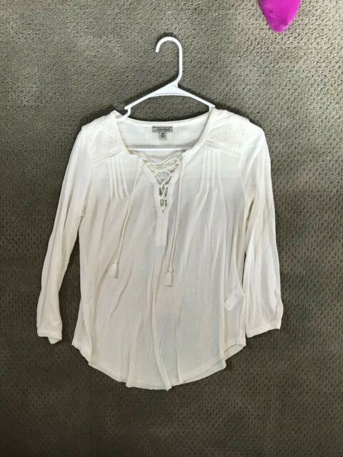 Lucky Brand Off-White Long Sleeve Shirt in Women's Size XS