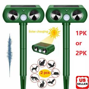1/2 PK Animal Repeller Ultrasonic Solar Power Outdoor Pest Cat Mice Deer Sensor