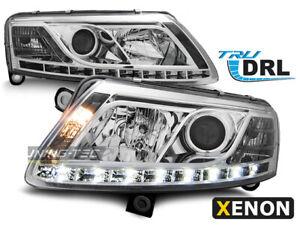 Coppia-Fari-Anteriori-LED-DRL-Inside-AUDI-A6-4F-C6-2004-2008-Xenon-D2S-Cromati-I
