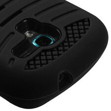 For Samsung Galaxy Exhibit 4G T599 Black Kickstand Hard & Soft Ruber Impact Case