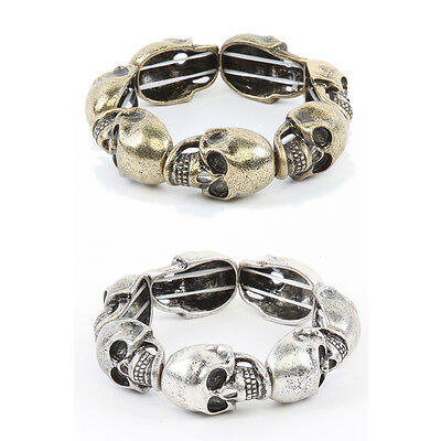 MOGAN Jewelry Skull Head Bracelet Rock Chic Gold And Silver Chain Stretch Cuff