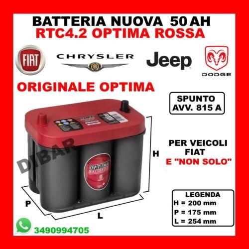 BATTERIA 50AH OPTIMA NUOVA FIAT FREEMONT 2.0 JTD DAL /'11 KW120 CV163 939B5000 45