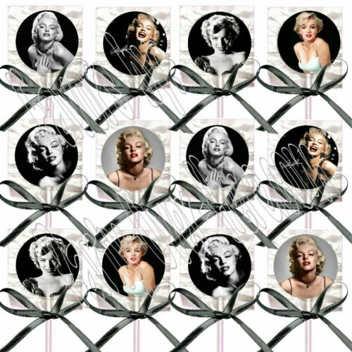 Marilyn Monroe Party Favors Decorations Lollipops w// Black Satin Ribbon Bows-12