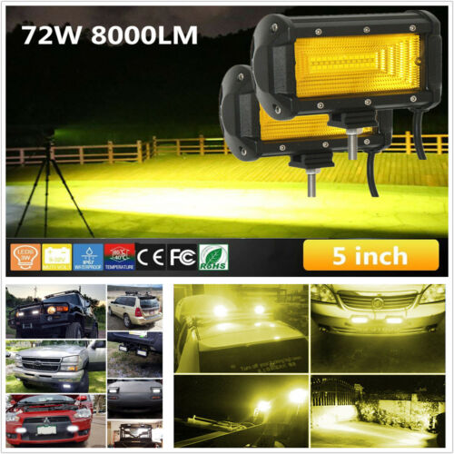 Universal 2Pcs 72W LED Car Off-Road Flood Lamp DRL Working Light Bar Waterproof