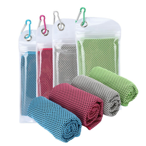 """35/""""x12/"""" Cooling Towel 4 Pack Ice Microfiber Soft Breathable Chilly Towel"""
