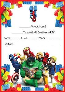 Lego Marvel Super Heroes Birthday Party Invitations Invites 102030