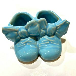 Vintage McCoy 1950/'s Shoes Baby Blue Booties wBows Art Pottery Planter
