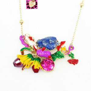 Women-039-s-Crystal-Fish-Sea-Plant-Coral-Pendant-Chain-Betsey-Johnson-Necklace-Gift