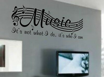 MUSIC IS NOT Vinyl Wall Quote Word Decal Dance Musical Notes Room Decor V2