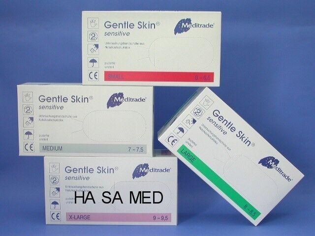 Latexhandschuhe Gentle skin sensitive PF Latex- Einmal-Handschuhe Größe S M L XL