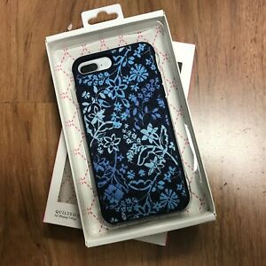 watch cae65 a5ea8 Details about New OEM Vera Bradley Case Iphone 7 Plus 8 Plus. Quilted Flora  light & Dark Blue
