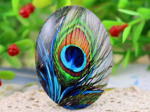 2pcs Blue Peacock Handmade Glass Cabochons30x40mm