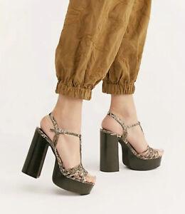 Jeffrey Campbell X Free People Breakaway Platform Sandal Snake Print Leather 9 5 Ebay