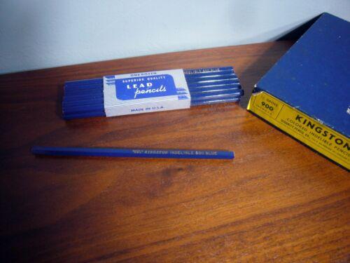 12 Kingston Blue Colored Indelible Lead Pencils Hexagon NOS pre 1960 USA Chicago
