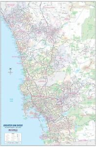 Details about Greater San Diego CA Detailed Region Wall Map w/Zip Codes