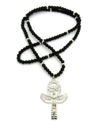 "NEW ANKH CROSS EGYPTIAN PENDANT /& 30/"" WOOD BEAD CHAIN HIP HOP NECKLACE RC2444"