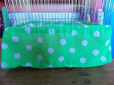 LIME GREEN /& WHITE SPOT BIRD CAGE TIDY  ~ medium 14 x 18 approx 36 x 46 cms