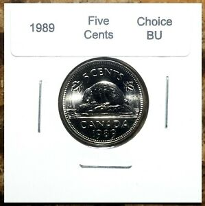 Canada-1989-Five-Cents-UNC-Choice-BU