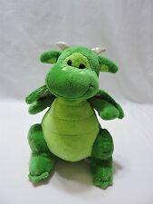 """Toys R Us Dragon Plush Stuffed Animal 10"""" Green Silver Cute Soft"""