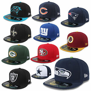 NEW-ERA-CAP-59FIFTY-NFL-ON-FIELD-FOOTBALL-RAIDERS-REDSKINS-GIANTS-SEAHAWKS-UVM
