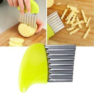 Durable Stainless Steel Crinkle Cutter Chip Wavy Chopper Kitchen Potato
