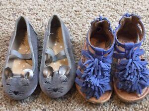 036520ff29fb Target Cat & Jack Girls Gray Mouse Blue Tassel Sandals Lot Of 2 ...